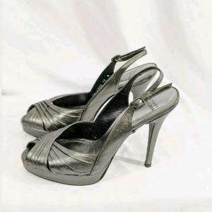 Stuart weitzman Metallic gray Strap Heels, 10M.